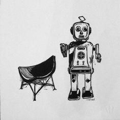 Robot et Fauteuil Linocut Eric Rewitzer Street Art, 3 Fish, Art Graphique, Artwork, Darth Vader, Prints, Robots, Fictional Characters, Studios