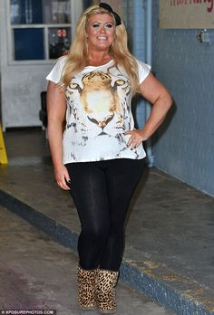 Loud and proud: Gemma Collins the 32-year-old reality star teamed her animal print accessories with form-fitting leggings and a killer fake tan