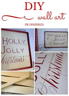 See how to make this Pottery Barn-inspired wall art. Easy DIY Christmas Wall Art