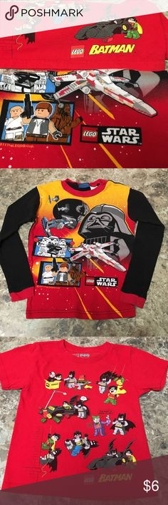 One long sleeve Lego pajama top & short sleeve top Who doesn't like Legos??? 🤔 The Lego Star Wars pajama top is size 8 and The Lego Batman is XS 4/5. The pajama top is fitted and appears smaller than the tag size hence the reason for the bundle. No stains or tears. ⭐️don't forget to bundle Lego Shirts & Tops Tees - Short Sleeve