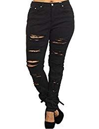d436ce3faae Juniors Women s Plus Size Blue Black Denim Jeans Skinny Ripped Distressed  Pants