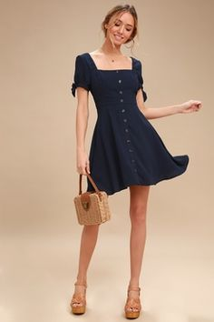 258723cef3c Chances Are Navy Blue Skater Dress 2 Skater Dress For Teens