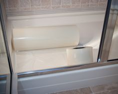 Tub & Shower Surface SaverTM is an 8 mil Clear, very heavy-duty surface protection film designed specifically for use on surfaces in the head.  The adhesive system on this film was designed to adhere nicely to porcelain, fiberglass, marble, stone, tile, resin, and most hard smooth surfaces.
