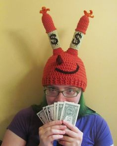 Mr Krabs hat crochet fan art with dollar signs grown up ready to ship