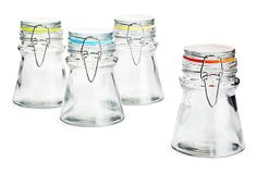 These would be great for organizing small things in the bathroom or home office! S/4 Rainbow Flip Jars