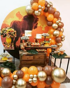 this is just inspiration for me with decor. it will be a lot more on the green side with the balloons. Jungle Theme Birthday, Lion King Birthday, Safari Theme Party, Wild One Birthday Party, Baby Boy 1st Birthday, Adult Birthday Party, Birthday Party Decorations, Lion King Theme, Lion King Party