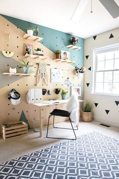 Creative Home Office Design Ideas. Hence, the requirement for home offices.Whether you are planning on including a home office or renovating an old space into one, right here are some brilliant home office design ideas to aid you get going. Retro Home Decor, Easy Home Decor, Cheap Home Decor, Home Decoration, Peg Board Walls, Peg Boards, Bedroom Wall, Bedroom Decor, Decor Room