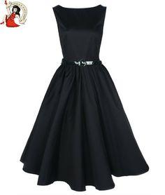 Dresses for Women Over 50 | ... BOP 50's AUDREY HEPBURN STYLE vintage EVENING cocktail DRESS BLACK