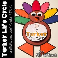 Turkey Craft for Thanksgiving Thanksgiving Activities, Thanksgiving Turkey, Turkey Template, November Month, Turkey Craft, Emergent Readers, Craft Night, Colored Paper, Life Cycles