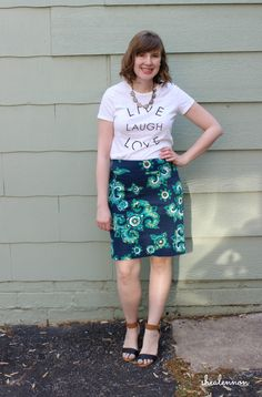 Graphic tee with print pencil skirt | www.shealennon.com