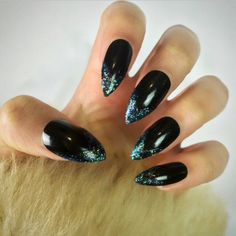 Dark Mermaid Stiletto Nails ($9.72) ❤ liked on Polyvore featuring beauty products, nail care, nail treatments and nails