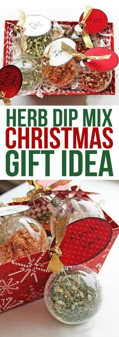 This is a cute neighbor gift idea. Fill glass ornaments with seasoning mixes and then just add them to sour cream to make party dip! Christmas Gifts To Make, Handmade Christmas Gifts, Diy Christmas Ornaments, Homemade Christmas, Xmas Gifts, Holiday Crafts, Christmas Bulbs, Glass Ornaments, Christmas Crafts