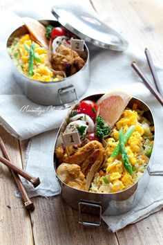 """Curry fried rice lunch of asparagus and egg. 