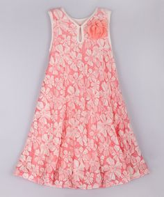 This Pink & Crème Boho Swing Dress - Toddler & Girls by Mia Belle Baby is perfect! #zulilyfinds