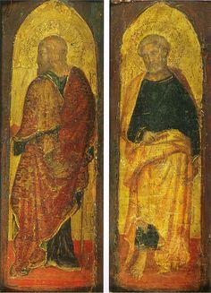 Gentile da Fabriano - San Giacomo maggiore e San Pietro - Pilastrini laterali del Polittico Sandei  disperso - 1410-1412 circa - Collezione Berenson a Villa I Tatti a Firenze.