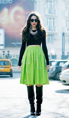 Dare to be different this winter, I love the cropped top with the heavy skirt and boots