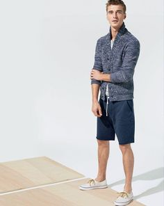 J.Crew marled cotton shawl-collar cardigan sweater, lightweight French terry contrast short and the Vans® for J.Crew sneakers.
