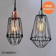 Wire Lampshade Industrial Cage Shades Lamp Shade Bulb Lighting Vintage Edison