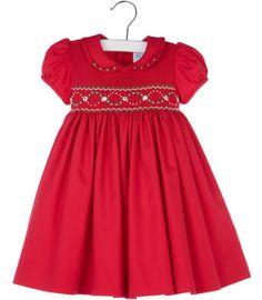 09b6abbc8b44 Luli   Me Baby   Toddler Girls Red Smocked Christmas Dress with Collar