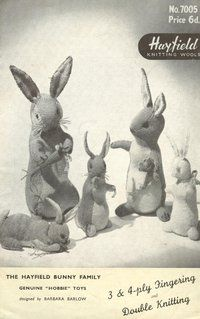 Hayfield 7005 - toy bunnies - vintage knitting pattern
