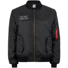 TOPMAN Art Disco Black 'Bad News' Bomber Jacket (225 BRL) ❤ liked on Polyvore featuring men's fashion, men's clothing, men's outerwear, men's jackets, black, mens padded bomber jacket, topman mens jackets, men's embroidered bomber jacket, mens motorcycle jacket and mens short sleeve jacket