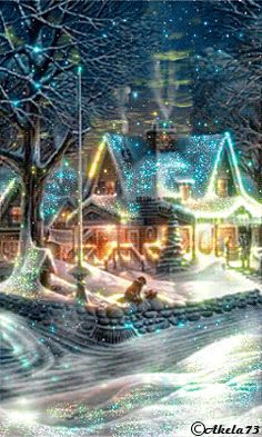 christmas scenes Christmas - Glitter Animations - Snow Animations - Animated images - Page 3 Noel Christmas, Vintage Christmas Cards, Christmas Images, Winter Christmas, Christmas Lights, Christmas Decorations, Christmas Glitter, Animated Christmas Pictures, Beautiful Christmas Scenes