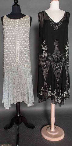 ICE BLUE BEADED DRESS, c. 1927 (on the left, all information is missing of the black beaded dress on the right but 1920's evening dress anyway so pinning!)
