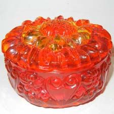 #MK419- glass sunflower jewelry box in 3 colors- found at the warehouse of www.wildthingsbeads.com