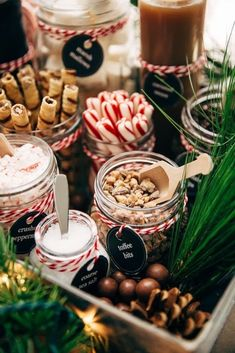christmas party DIY Hot Chocolate Bar Party - Learn how to set up your own hot chocolate bar! Tons of printables, decorating ideas, and toppings! Plus, the most luxurious hot chocolate recipe! Christmas Party Themes, Christmas Eve Box, Christmas Treats, Christmas Cookies, Rustic Christmas, Xmas, Holiday Parties, Christmas Candy Bar, Christmas Fireplace