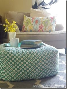 West Elm knock-off floor pouf | Addison Meadows Lane Knock off Decor #DIY Knock Off Pottery Barn