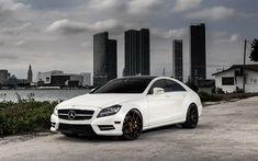 Download wallpapers Mercedes CLS550, white luxury sedan, German cars, tuning CLS, bronze wheels, Avant Garde wheels