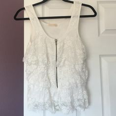 detailed white tank perfect condition some threads loose but no flaws! Pins & Needles Tops Tank Tops