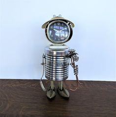 Found Object Robot Clock Assemblage Art Alarm Clock Robot