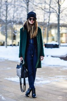 New York City Fashion and Personal Style Blog: Knit beanie, wool coat, jumpsuit, metallic handbag, patent leather booties