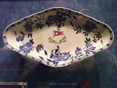 A second class dish recovered from the wreck. Gravy ladle plate.