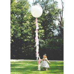 36 Inch Round Balloon with Fancy Frill Tassel Tail by CarouselLane, $46.00 #tassel #balloon #frill