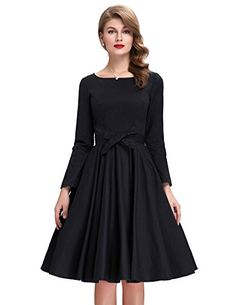 Womens Retro Long Sleeve Cocktail Party Picnic Dress BP19...