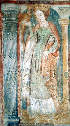 Late 14th or early 15th century (1392-1410) Slovenia. Saint Margaret of Antioch - detail of a fresco in the parish church of St. Martin in Martjanci, Slovenia; by workshop of Johannes von Aquila.