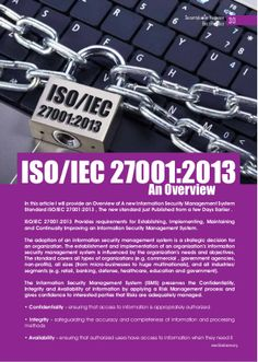 ISO/IEC 27001:2013  An Overview  by Ahmed  Riad via slideshare