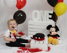 Smash Cake |One Year Old Portraits Old Portraits, One Year Old, Cake Smash, Mickey Mouse, Disney Characters, Fictional Characters, Photography, Art, Art Background