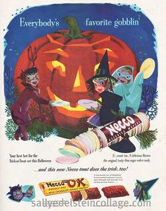 Such an absolutely, wonderfully adorable vintage Halloween ad for Necco Wafers.1950s