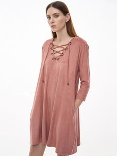 Shop Pink Eyelet Lace Up Suede Shift Dress online. SheIn offers Pink Eyelet Lace Up Suede Shift Dress & more to fit your fashionable needs.