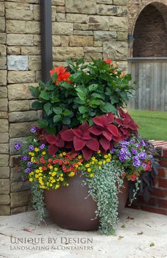 Stunning Container Gardening Ideas Beautiful blossoms are a sure sign of Spring, and soon enough we will all be able to enjoy brightly adorned gardens. If you love container gardening, then this list of ideas just may inspire you w…Beautiful blossoms are Large Flower Pots, Flower Planters, Garden Planters, Concrete Planters, Porch Planter, Herb Garden, Diy Garden, Shade Garden, Big Planters