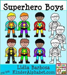 Superhero Boys- Clip Art for Teachers Superhero Kindergarten, Superhero Classroom Theme, Classroom Themes, Teacher Appreciation Gifts, Art Lessons, Homeschool, Clip Art, Poster Ideas, Teaching