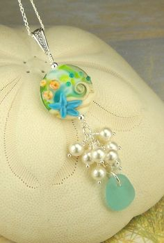 Eco Friendly GENUINE Sea Glass Necklace Larger by seaglassgems4you, $75.00