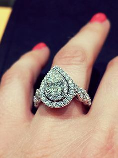 Ready to Love pear shape double halo diamond engagement ring from Steven Singer Jewelers