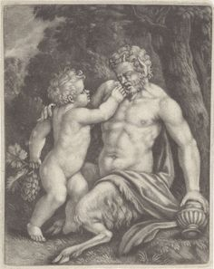 Anonymous | Putto voert een sater druiven, Anonymous, 1650 - 1800 |