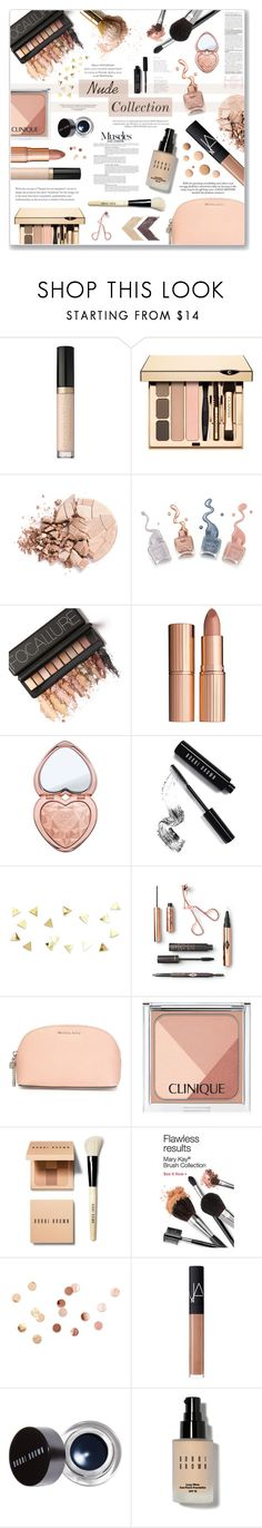 """The Nude Collection"" by xorozetaxo ❤ liked on Polyvore featuring beauty, Too Faced Cosmetics, Anastasia Beverly Hills, Charlotte Tilbury, Bobbi Brown Cosmetics, MICHAEL Michael Kors, Clinique, Anja, CC and Umbra"