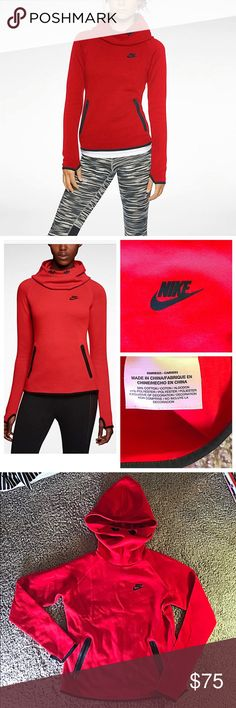 💟SOLD ON Ⓜ️💟 NIKE Tech Fleece women's pullover funnel neck hoodie sweatshirt size small (US 4-6). Thumb holes in cuffs to keep hands warm. Secure zip pockets in front. Bungee ties at neck to tighten hood. Great for being active or just lounging. Super comfortable and high quality. Never worn and in perfect condition just no tag NWOT. Looks exactly like product in first and second modeled pic. Purchased from Nike for $140. Nike Tops Sweatshirts & Hoodies
