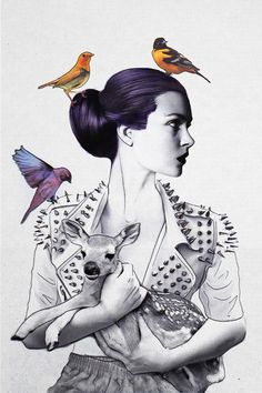 """Jenny Liz Rome (Ontario) - Made for the Iseamonster 2013 group show in Toronto;The Reinterpretation of Frida Kahlo's The Wounded Deer""""   Drawings"""
